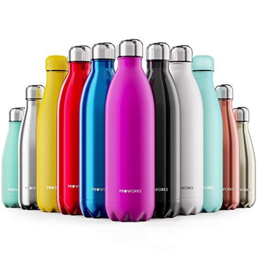 Proworks Bottiglia Acqua in Acciaio Inox, Senza BPA Vuoto Isolato Borraccia Termica in Metallo per Bevande Calde per 12 Ore & Fredde 24 Ore, Borraccia per Sport, Lavoro e Palestra - 1000ml - Rosa - 1