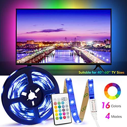 Retroilluminazione TV LED ad USB di Lunghezza 2.4M Adatto per HDTV da 40-65 Pollici, 24 Tasti Telecomando ad Infrarossi in Grado di telecomandare Striscia Luminosa a LED, RGB 5050 Luce con 16 Colori - 1