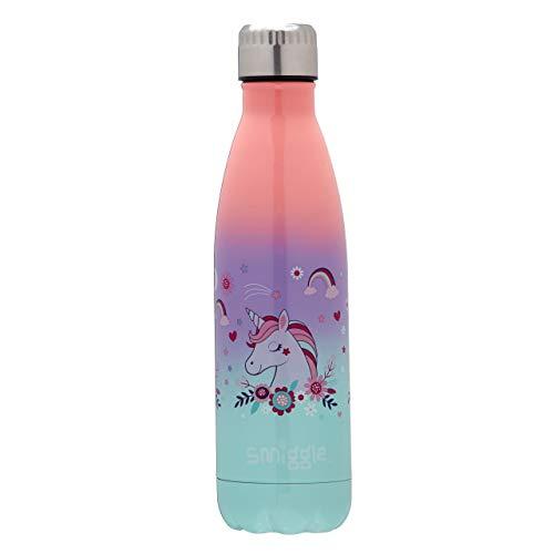 Smiggle Wonder, bottiglia termica per acqua in acciaio inossidabile, con tappo a vite e capacità di 500 ml | Stampa di unicorni - 1