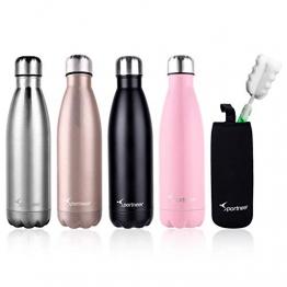 Sportneer® Portatile Borraccia in Acciaio Termica, 500ml Bottiglia Sportive Thermos, Facile da Pulire - 1
