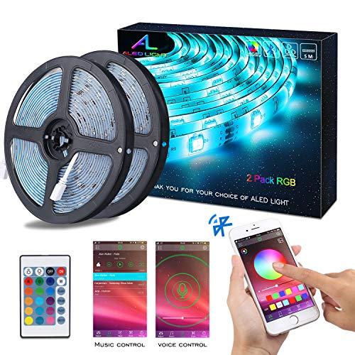 Striscia LED RGB 10M Musica, ALED LIGHT LED Strip Bluetooth RGB Striscia, IP65 Impermeabile 12V Striscia, Bluetooth + 24 Tasti Telecomando, Nastri Led Smartphone Android e IOS Controllato da APP - 1