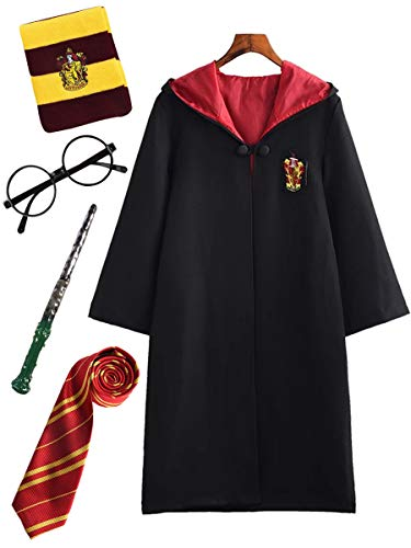 Diudiul Bambini Cosplay per Adulti Harry Potter Costume Mantello Film Fan Articolo Outfit Set Bacchetta Cravatta Occhiali Carnevale Travestimento Festa Costume Cosplay
