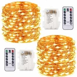 2 Pezzi Stringa Luci LED - 10M/33FT Catene Luminose 100LED Luci Natalizie Batteria Impermeabile IP65, Esterno/Interni Lucine Decorative per Balcone Giardino Feste Natale (Bianco Caldo) - 1