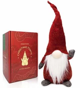 Airlab Gnomo di Natale Decorazioni Natalizie 49 cm di Altezza, Natalizie Fatte a Mano Tomte Babbo Natale, Regali Nani scandinavi, Decorazioni Natalizie, Rosso - 1