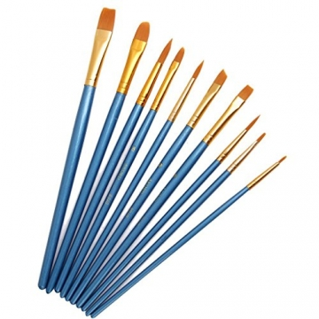 AKORD-Pennelli in Nylon, plastica, Colore: Blu, Confezione da 10 - 1
