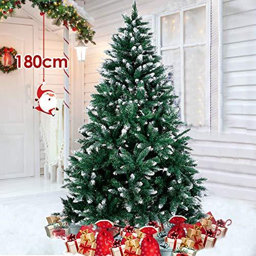 amzdeal Albero di Natale Innevato 180cm Albero di Natale Artificiale Innevato Bianco Naturale Pino con Supporto in Metallo per Feste di Natale - 1