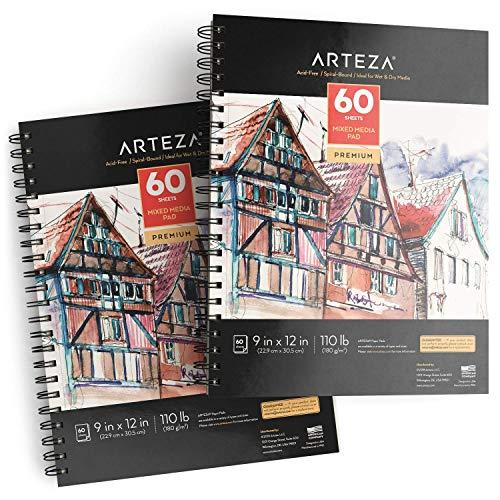 ARTEZA Blocco Disegno Pittura Tecniche Miste, (22,9 x 30,5 cm), 60 Fogli a Spirale, pacco di 2 - 1