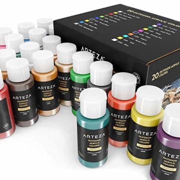 Arteza Colori Acrilici per Dipingere Resistenti da Esterno, Set di 20 Colori/Tubetti(59 ml) con Scatola, Ricchi di Pigmenti, Per Multi-Superfici come Sassi, Legno, Tessuti, Carta, Tela, Pittura Murale - 4
