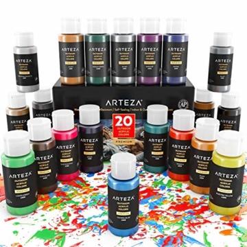 Arteza Colori Acrilici per Dipingere Resistenti da Esterno, Set di 20 Colori/Tubetti(59 ml) con Scatola, Ricchi di Pigmenti, Per Multi-Superfici come Sassi, Legno, Tessuti, Carta, Tela, Pittura Murale - 7