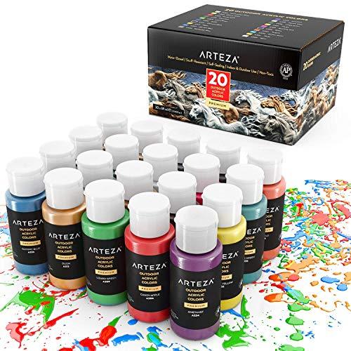 Arteza Colori Acrilici per Dipingere Resistenti da Esterno, Set di 20 Colori/Tubetti(59 ml) con Scatola, Ricchi di Pigmenti, Per Multi-Superfici come Sassi, Legno, Tessuti, Carta, Tela, Pittura Murale - 1