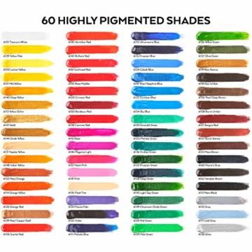 Arteza Colori Acrilici Professionali, Set da 60 Tubetti Grandi da 22ml, Tempere Acriliche per Dipingere su Tela, Pigmenti Brillanti e Fluidi Facili da Mescolare, Sia per Esperti che per Principianti - 2
