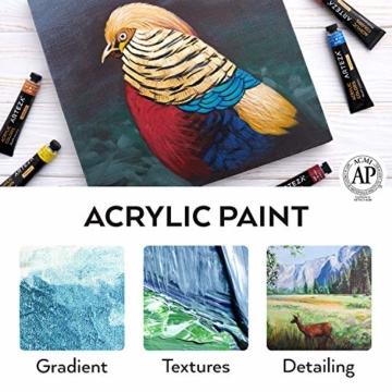 Arteza Colori Acrilici Professionali, Set da 60 Tubetti Grandi da 22ml, Tempere Acriliche per Dipingere su Tela, Pigmenti Brillanti e Fluidi Facili da Mescolare, Sia per Esperti che per Principianti - 4
