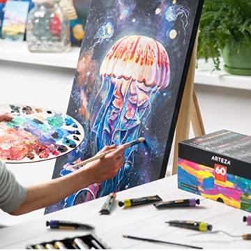 Arteza Colori Acrilici Professionali, Set da 60 Tubetti Grandi da 22ml, Tempere Acriliche per Dipingere su Tela, Pigmenti Brillanti e Fluidi Facili da Mescolare, Sia per Esperti che per Principianti - 5