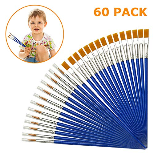 AYE 60 Pezzi Professionali Pennelli da Pittura Bambini Paint Brush Set per Principianti, Artisti - Nylon, Blu - 1