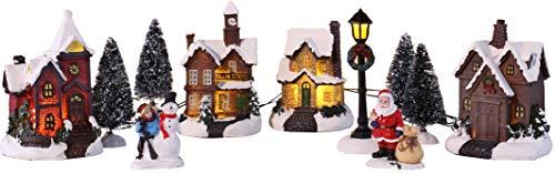 Bambelaa! Città di Natale, 11 pezzi. Winterdorf - Decorazione natalizia a 5 LED, luce bianca calda, per interni - 1