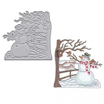 Christmas Snow Scene Metal Cutting Dies Decorative Embossing Stencil Templates for DIY Scrapbooking Album Paper Cards Crafts 2PCS - 2