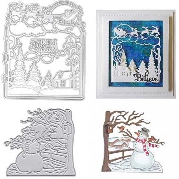 Christmas Snow Scene Metal Cutting Dies Decorative Embossing Stencil Templates for DIY Scrapbooking Album Paper Cards Crafts 2PCS - 1