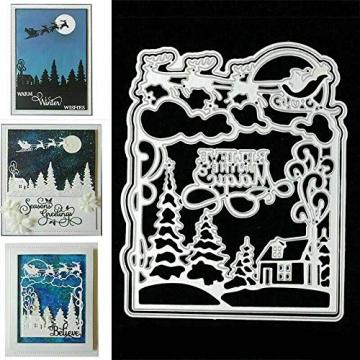 Christmas Snow Scene Metal Cutting Dies Decorative Embossing Stencil Templates for DIY Scrapbooking Album Paper Cards Crafts 2PCS - 5