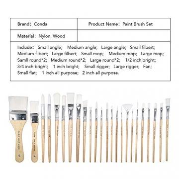 CONDA Pennelli Professionali per Colori ad Olio e Acrilici Set di Pennelli Spazzola per Dipingere 24 Pz Confezione in Nylon - 2