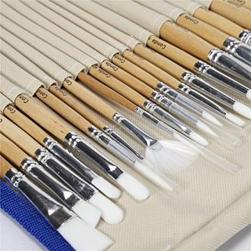 CONDA Pennelli Professionali per Colori ad Olio e Acrilici Set di Pennelli Spazzola per Dipingere 24 Pz Confezione in Nylon - 3