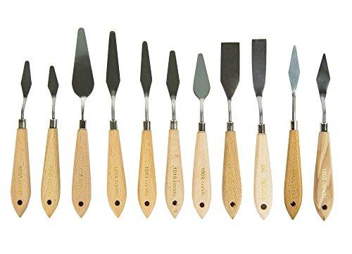 CONDA Set di coltelli Spatole Per Pittura Raschietto Per Pittura 11 Pezzi, Coltelli In Metallo Manico In Legno - 1