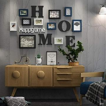 Cornice Portafoto Cornice fotogramma Collage in legno massiccio combinato soggiorno cornice cornice creativa ristorante sfondo decorazione della parete ( Colore : Nero ) - 8