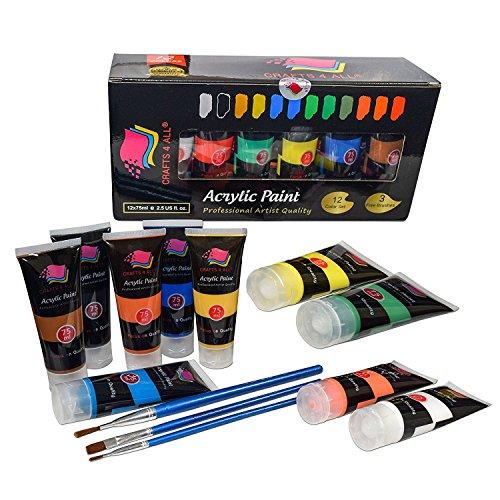 Crafts 4 All - Pittura acrilica professionale, set da colori acrilici XL (75 ml), kit per pittura su tela, legno, argilla, tessuto, unghie, ceramica e artigianato. Per studenti e professionisti - 1