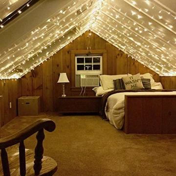CREASHINE Tenda con Catena di Luci LED, 3 x 3 m, impermeabilità IP44, Stelle LED A Catena di Luce, Tenda di Luci per Natale, Decorazione Feste, Interni - 2