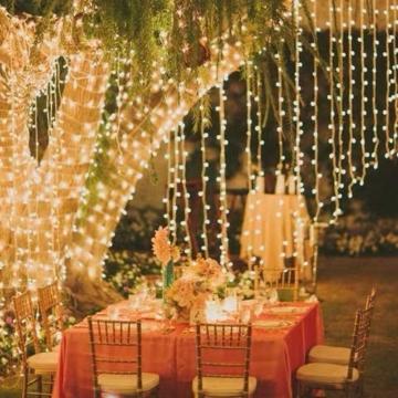 CREASHINE Tenda con Catena di Luci LED, 3 x 3 m, impermeabilità IP44, Stelle LED A Catena di Luce, Tenda di Luci per Natale, Decorazione Feste, Interni - 3