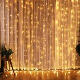 CREASHINE Tenda con Catena di Luci LED, 3 x 3 m, impermeabilità IP44, Stelle LED A Catena di Luce, Tenda di Luci per Natale, Decorazione Feste, Interni - 1