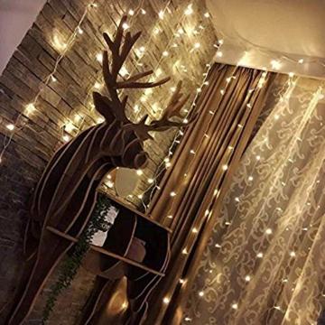 CREASHINE Tenda con Catena di Luci LED, 3 x 3 m, impermeabilità IP44, Stelle LED A Catena di Luce, Tenda di Luci per Natale, Decorazione Feste, Interni - 5