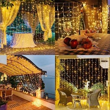 CREASHINE Tenda con Catena di Luci LED, 3 x 3 m, impermeabilità IP44, Stelle LED A Catena di Luce, Tenda di Luci per Natale, Decorazione Feste, Interni - 6