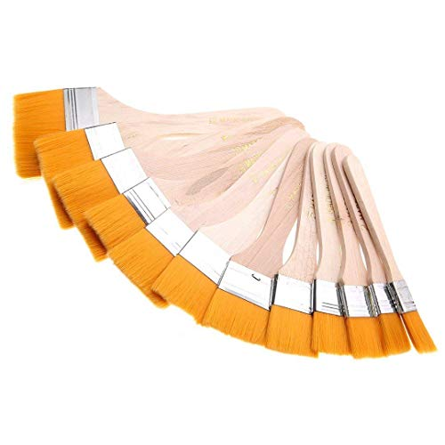 EAGLESTIME - Pennelli in legno per pittura a olio, acquerello / acrilico (Confezione da 12) - 1