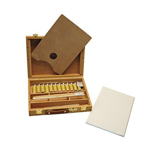 Exerz AS-HBX-5 Set in legno per pittura e cavalletto di qualità superiore con 23 pezzi-Cavalletto da tavola/ 3 pannelli/12 pittura acrilica/ 4 pennelli/matita/spatola in plastica/tavolozza in legno - 1