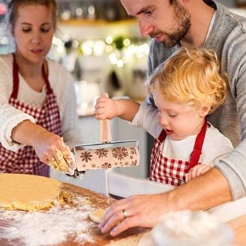 GoodGoodday Mattarello Natale, Rolling Pin per Biscotti e Pizza Utensile da Cucina in Rilievo di Legno Inciso a Forma di Mattarello Inciso di Natale,Goffratura Mattarello, Mattarello di Pane di Pasta - 3