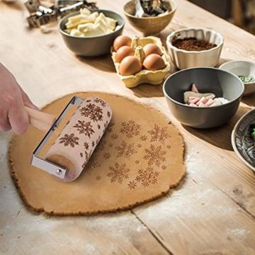 GoodGoodday Mattarello Natale, Rolling Pin per Biscotti e Pizza Utensile da Cucina in Rilievo di Legno Inciso a Forma di Mattarello Inciso di Natale,Goffratura Mattarello, Mattarello di Pane di Pasta - 5