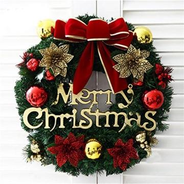 Homebaby Ghirlanda natalizia decorativa Ghirlande natalizie per porta d'ingresso da 30cm Decorazioni per esterni vintage Fiore artificiale Ghirlanda di ornamento di muro - 2