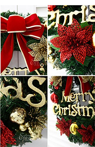 Homebaby Ghirlanda natalizia decorativa Ghirlande natalizie per porta d'ingresso da 30cm Decorazioni per esterni vintage Fiore artificiale Ghirlanda di ornamento di muro - 3