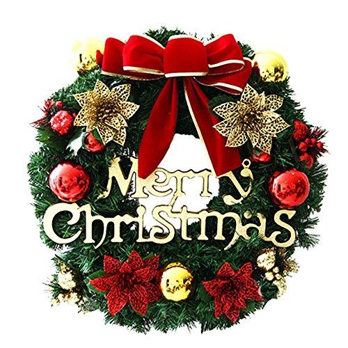 Homebaby Ghirlanda natalizia decorativa Ghirlande natalizie per porta d'ingresso da 30cm Decorazioni per esterni vintage Fiore artificiale Ghirlanda di ornamento di muro - 1