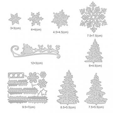 Kesote 9 Fustelle Metalliche di Natale Fustelle a Forme di Fiocchi di Neve, Albero di Natale, Renna Modello per Goffratura Natalizie Fustelle per Fai da Te Biglietti d'Auguri Scrapbooking Album - 2