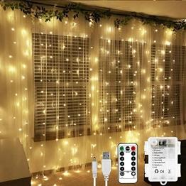 LE 3X3M 300 LED Luci Fatate per Tenda, Bianco Caldo, Alimentato da USB o Batteria, 8 Modalità, Catena di Luci Stringa Impermeabile, Timer, Tenda Luminosa per Decorazioni di Casa, Natale, Compleanno - 1