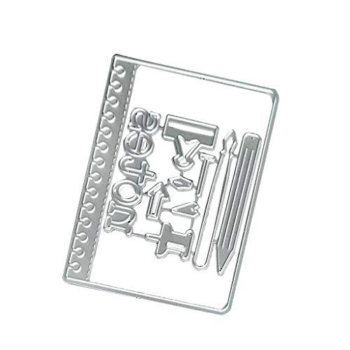 Lhuaguo - Fustella in acciaio al carbonio, a forma di penna, appunti, biglietti, goffratura, stencil per fai da te, carta artigianale, scrapbooking, segnalibri - 1