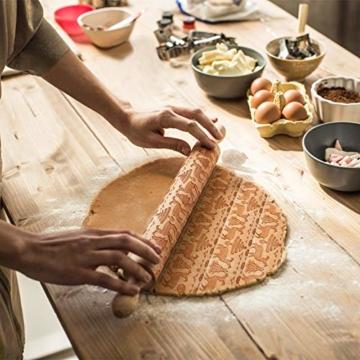 Mattarello Natale In Legno Rolling Pin per Biscotti e pizza Utensile da Cucina in Rilievo di Legno Inciso a Forma di mattarello Inciso di Natale, Goffratura Mattarello, Mattarello di Pane di Pasta - 3