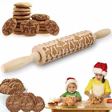 Mattarello Natale In Legno Rolling Pin per Biscotti e pizza Utensile da Cucina in Rilievo di Legno Inciso a Forma di mattarello Inciso di Natale, Goffratura Mattarello, Mattarello di Pane di Pasta - 1