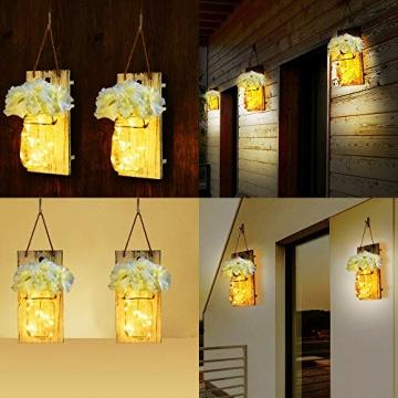 MMTX Applique da Parete Rustica, Mason Jar Sconce Decorazione da Parete con luci LED Strip Design per Giardino di casa Decorazioni Natalizie (2pcs) - 4