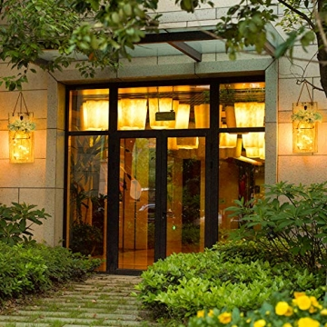 MMTX Applique da Parete Rustica, Mason Jar Sconce Decorazione da Parete con luci LED Strip Design per Giardino di casa Decorazioni Natalizie (2pcs) - 6