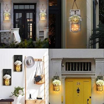 MMTX Applique da Parete Rustica, Mason Jar Sconce Decorazione da Parete con luci LED Strip Design per Giardino di casa Decorazioni Natalizie (2pcs) - 7