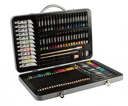 MONT MARTE Set Pittura Premium Essenziale - 90 Pezzi - Set Disegno di alta qualità in elegante Valigia di Metallo - Ideale come regalo - Perfetto per Bambini, Principianti, Professionisti e Artisti - 1