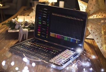 MONT MARTE Set Pittura Premium Essenziale - 90 Pezzi - Set Disegno di alta qualità in elegante Valigia di Metallo - Ideale come regalo - Perfetto per Bambini, Principianti, Professionisti e Artisti - 3
