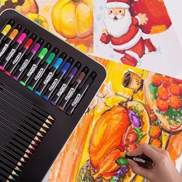 MONT MARTE Set Pittura Premium Essenziale - 90 Pezzi - Set Disegno di alta qualità in elegante Valigia di Metallo - Ideale come regalo - Perfetto per Bambini, Principianti, Professionisti e Artisti - 5